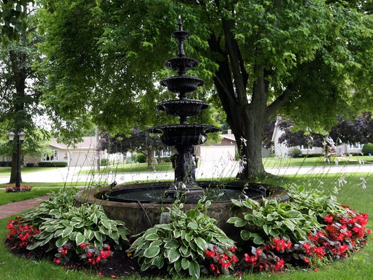 The fountain in front of 2004 Menasha Ave. in Manitowoc