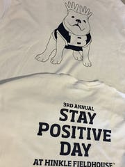 """Stay Positive shirt, featuring Butler Blue III in moose antlers. Andrew Smith's nickname was """"Moose."""""""