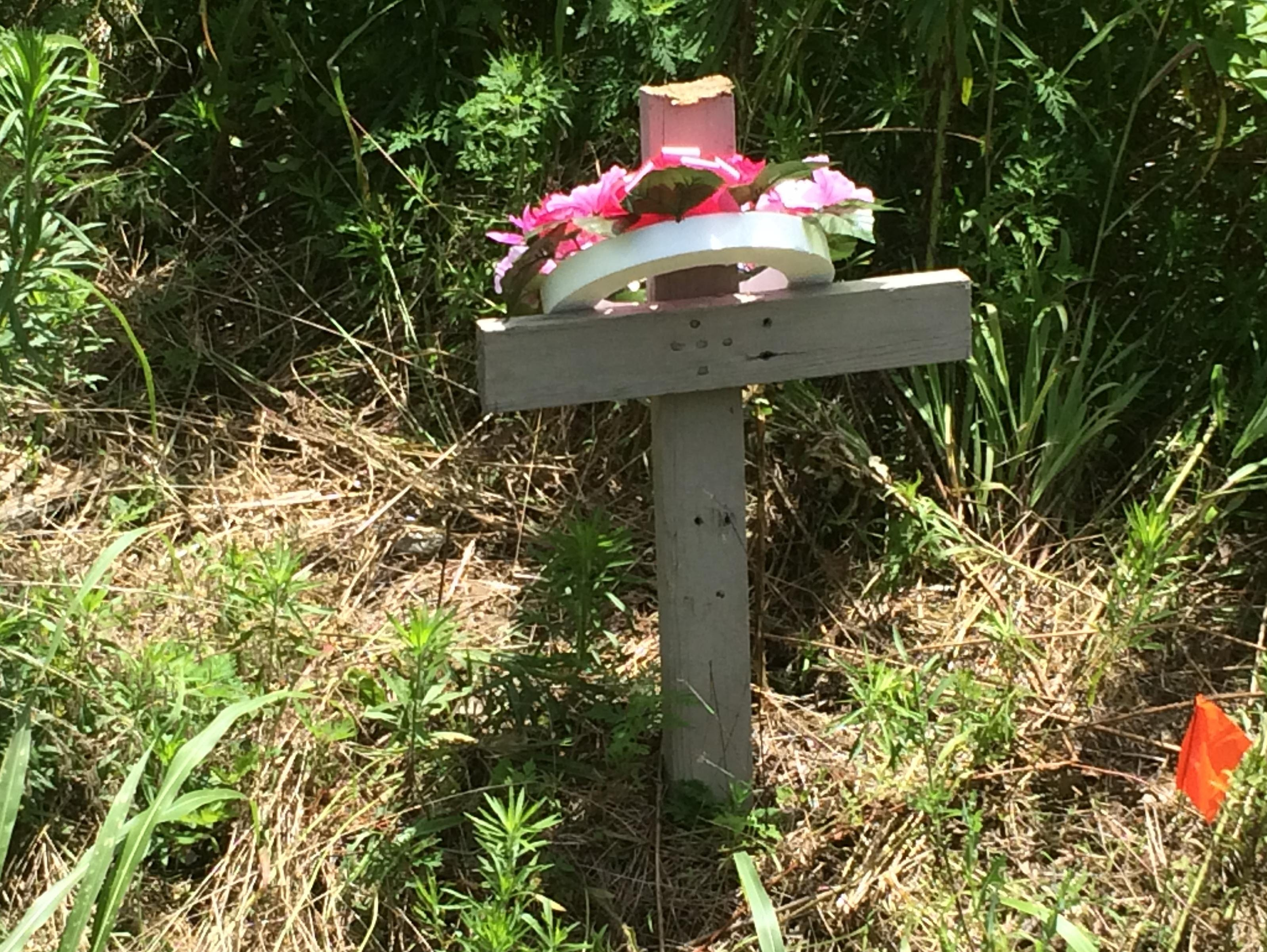 A cross has been placed at the site where West Carroll War Eagles junior lineman Blake Ray died in a car wreck after leaving practice Tuesday morning.