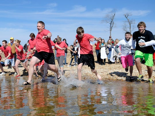 Polar plungers run into a chilly Norfork Lake in this file photograph from a past Polar Plunge.