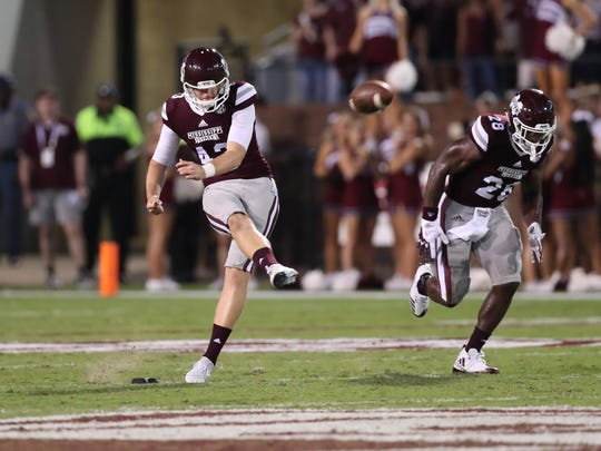 Logan Cooke punts in a recent game for Mississippi State.