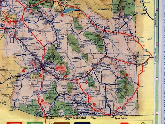 C for confusing: On this 1961 map, the stretch of highway