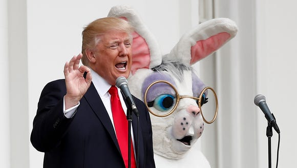 President Trump, joined by the Easter Bunny, speaks