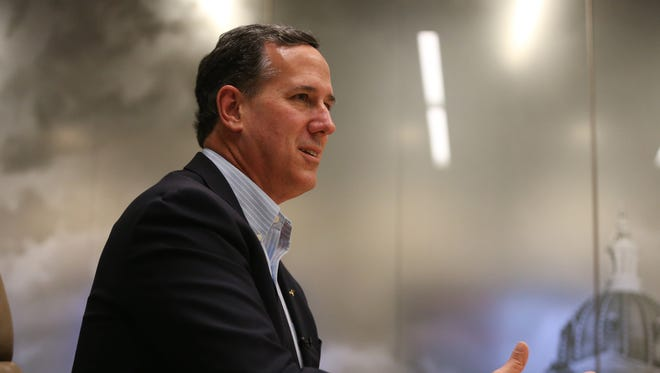 Presidential hopeful Rick Santorum meets with the Des Moines Register's editorial board on Tuesday, Dec. 8, 2015, in Des Moines.