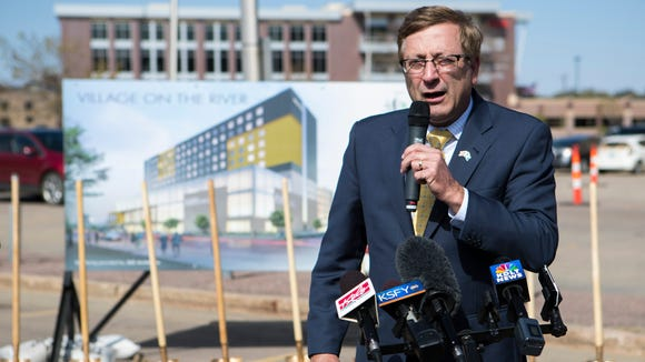 Mayor Mike Huether speaks at a groundbreaking ceremony for the mixed-use parking ramp project on Monday, May 7, 2018 in Sioux Falls, S.D.