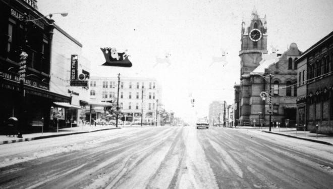 Anderson's Main Street was decorated with snow on Christmas Eve 1963.