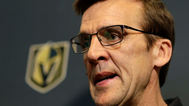 Vegas Golden Knights General Manager George McPhee speaks during a news conference Monday, June 19, 2017, in Las Vegas. McPhee answered questions about his hockey team and the NHL's expansion draft. (AP Photo/John Locher)v