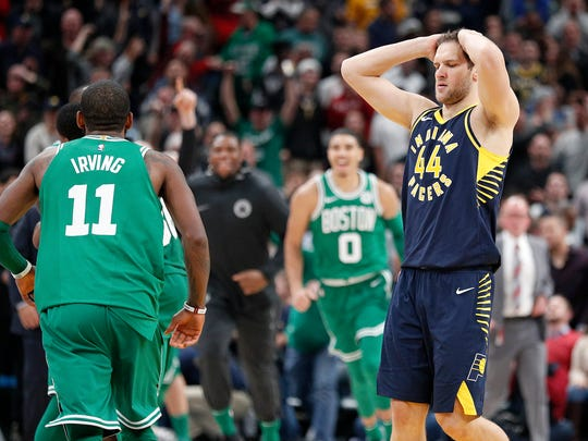 A dejected Indiana Pacers Bojan Bogdanovic (44) following their game at Bankers Life Fieldhouse Monday, December 18, 2017. The Boston Celtics defeated the Indiana Pacers 112-111.