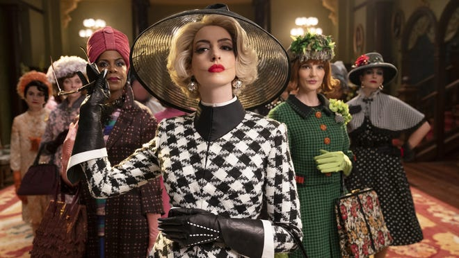 "Anne Hathaway, front, leads a coven, from left, Eugenia Caruso, Penny Lisle, Orla O'Rourke and Ana-Maria Maskell, in ""The Witches."""