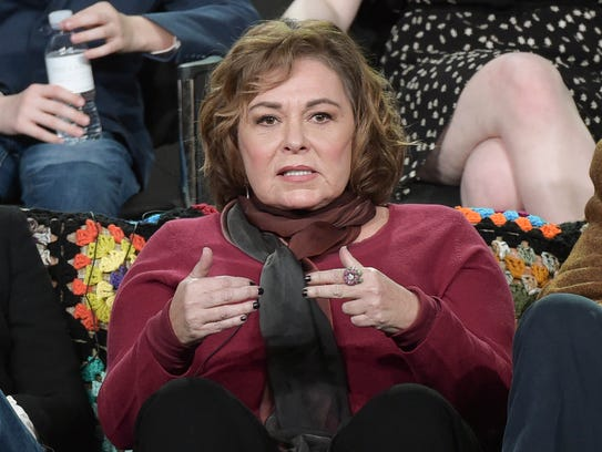 "Roseanne Barr (and other cast members) promoted the return of ""Roseanne"" to TV critics in January."