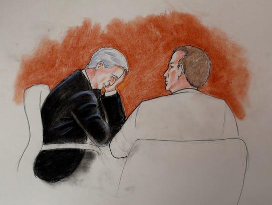 In this courtroom sketch, ex-Denver DJ David Mueller