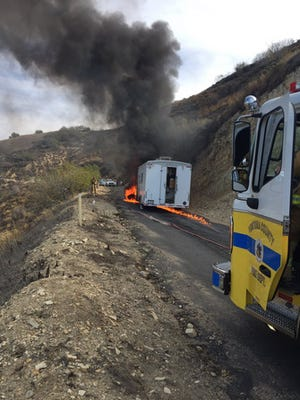 A ruptured fuel tank from a truck led to a small fire along Torrey Canyon south of Piru early Tuesday afternoon.