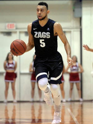Gonzaga Bulldogs guard Nigel Williams-Goss (5) moves the ball down court against the Loyola Marymount Lions during the first half at Gersten Pavilion.