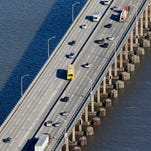 State Thruway employee Rich Lynch has been driving the barrier-moving machine across the Tappan Zee Bridge for 25 years.