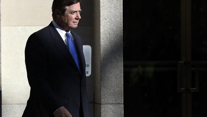 Paul Manafort leaves Federal District Court on Monday in Washington. Special Counsel Robert Mueller has accused Manafort and his business partner Rick Gates of using shell corporations to hide assets and keep from paying taxes. AP FILE - In this Monday, Oct. 30, 2017, file photo, Paul Manafort walks from Federal District Court in Washington. The three nations named in the indictment of former Trump Campaign Chairman Paul Manafort have been known by financial crime experts in the past as locations for money laundering or at risk of being used for money laundering. (AP Photo/Alex Brandon, File)