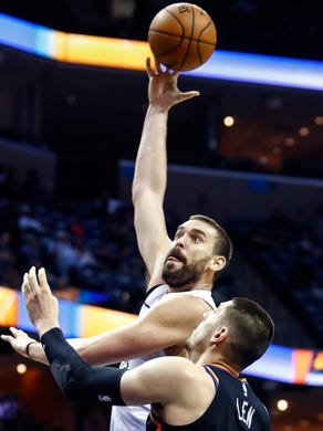 Memphis Grizzlies center Marc Gasol (top) puts up a