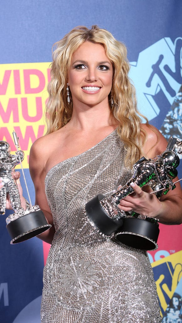 Britney Spears poses with the Best Female Video Award,