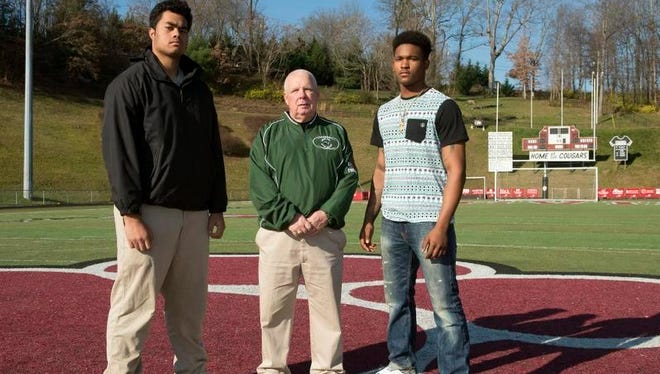 Western North Carolina will have three representatives in next week's Shrine Bowl of the Carolinas. They are, from left to right, Asheville High lineman Pete Leota, Cougars assistant coach Charlie Metcalf and Reynolds quarterback/running back Rico Dowdle.