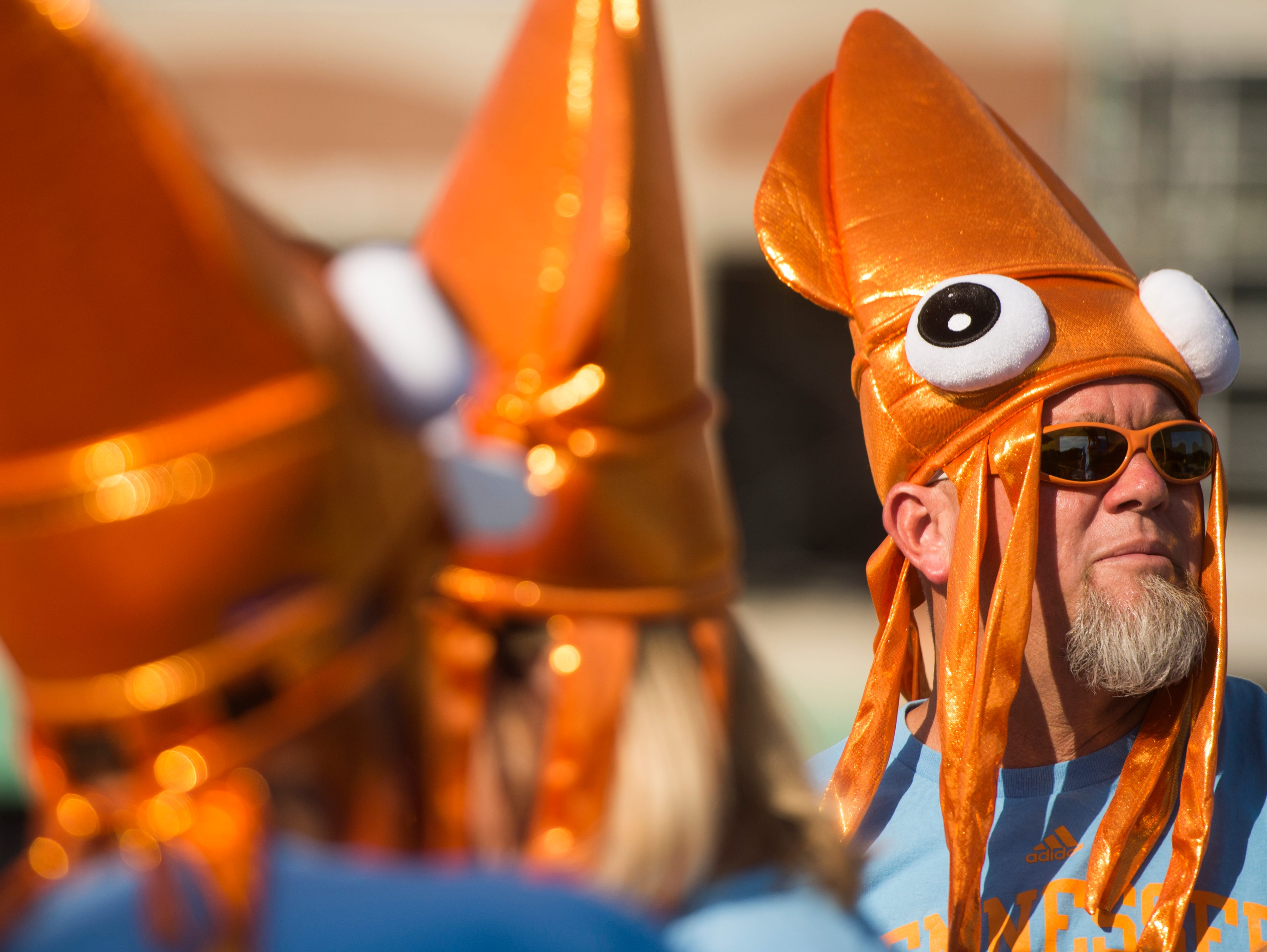 Michael Beler wears a squid hat before an NCAA Super Regional game between Tennessee and Texas A&M at Sherri Parker Lee Stadium on Friday, May 26, 2017. Tennessee defeated Texas A&M 8-1.