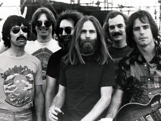 The Grateful Dead's early 1980s lineup included, from left, Mickey Hart, Phil Lesh, Jerry Garcia, Brent Mydland, Bill Kreutzmann and Bob Weir.