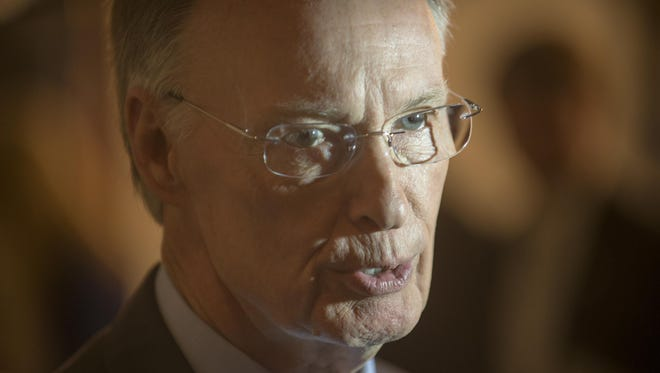 "Gov. Robert Bentley seen in May, 2015, said Monday a Birmingham congresswoman's request for a probe of drivers license office closings was ""impulsive."""