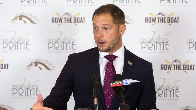 Western Michigan head coach P.J. Fleck speaks during a press conference at the Radisson Plaza Hotel in Kalamazoo, Mich., on Thursday, Nov. 3, 2016. WMU improved to 9-0 after defeating Ball State 52-20 on Tuesday.