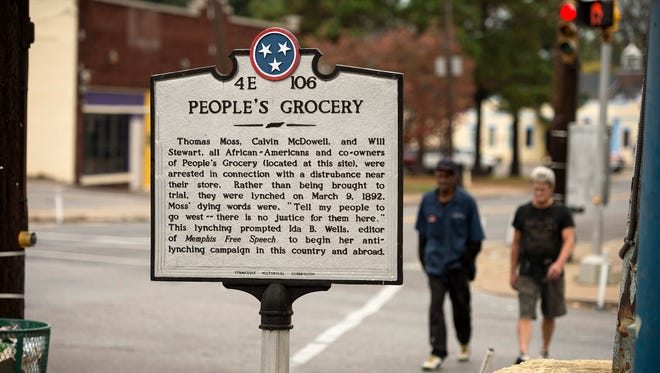 A Tennessee Historical Commission marker commemorates the site at Mississippi and Walker where three African-American co-owners of People's Grocery were lynched in 1892. The incident caused journalist Ida B. Wells to begin her campaign against lynching.