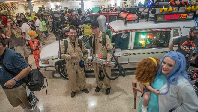 Jeremy Trott and Jeremy Smith, both of Prattville, came to Gump City Con dressed like Ghostbusters, and had a chance to see Ecto-1. The first ever Gump City Con was held Saturday, Aug. 12, at the Alcazar Shrine in Montgomery.