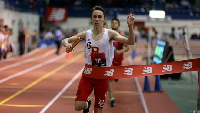 Braedon Fiume of Bergen Catholic crosses the finish line, winning the New Balance Games sprint medley in 3:34.26.