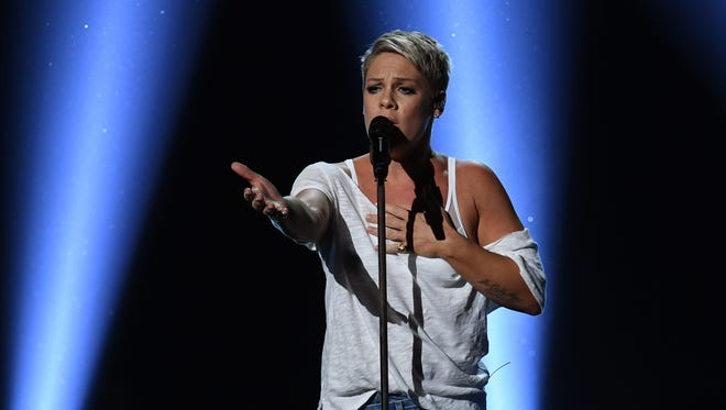 Pink performs during the 60th Annual GRAMMY Awards at Madison Square Garden.