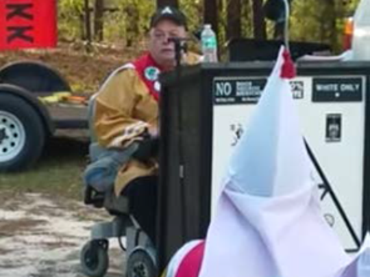 "In this photo is Tom Larson, a Lewes resident and the grand imperial wizard of the East Coast Knights of the Ku Klux Klan. Larson is ""allied"" with Richard Preston and the Confederate White Knights of the KKK."
