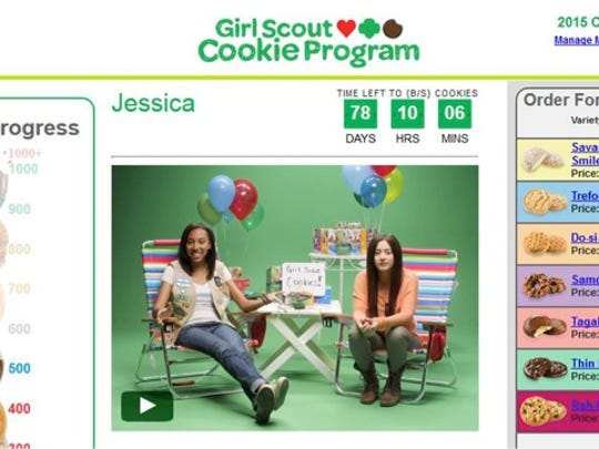 A screenshot of a Girl Scout Cookie Program webpage.