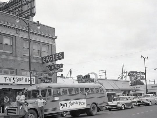 The KBZY Shortcake Special bus is seen on June 17, 1960. The station's studios were in the Eagles Building on High Street NE until mid-1965.