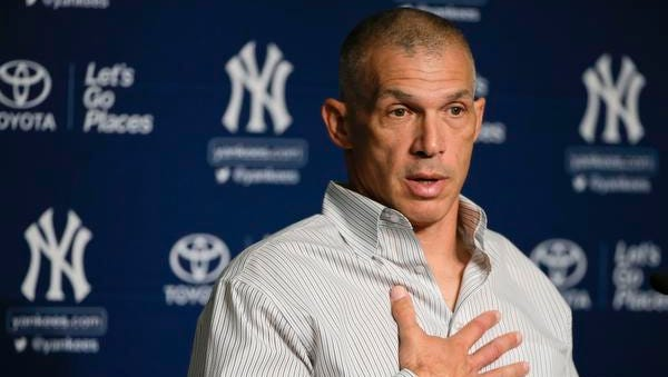 Yankees manager Joe Girardi answers questions during an end-of-season news conference Monday in New York.