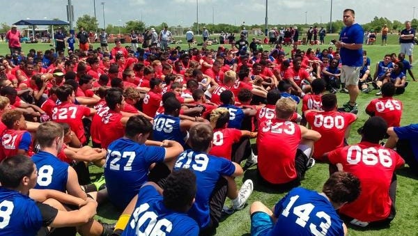 In this April 27 photo provided by Donald Hooton Sr., Donald Hooton Jr. addresses players at the USA Football regional football camp about the potential dangers of using performance-enhancing substances at the Houston Sports Park in Houston. Experimentation with human growth hormones by America's teens more than doubled in the last year, according to a large-scale national survey. Hooton works for the Taylor Hooton Foundation, named after his brother, Taylor, a 17-year-old high school athlete whose suicide in 2003 was blamed by his family on abuse of steroids.