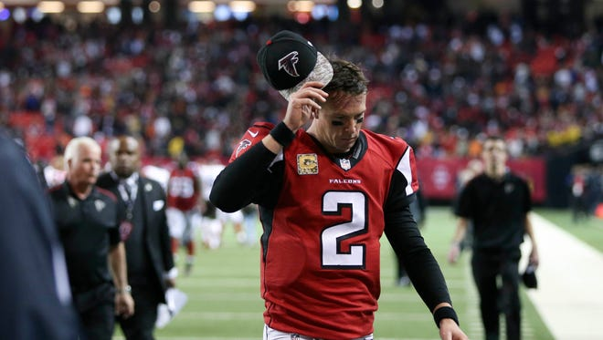 Falcons quarterback Matt Ryan (2) reacts after their loss to the Cleveland Browns at the Georgia Dome.