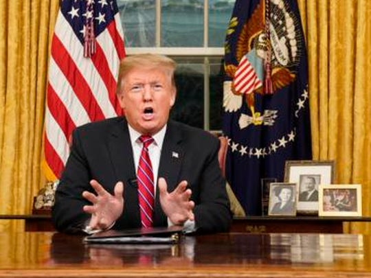 President Donald Trump speaks from the Oval Office