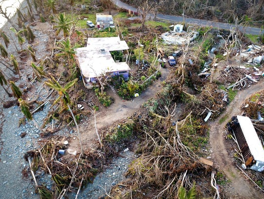 Damaged homes and downed trees are seen along the coast