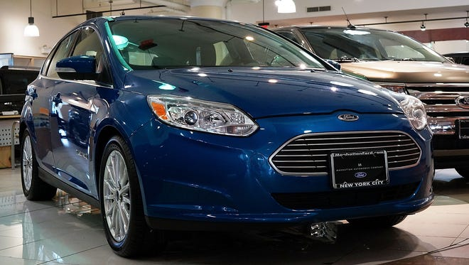 A Ford Focus sits on display at a Manhattan car dealership in this 2013 file photo