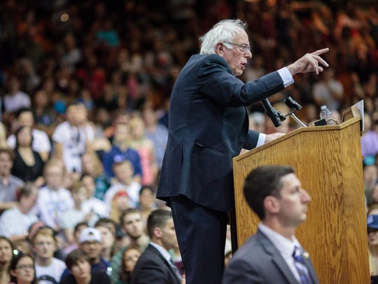 Bernie Sanders addresses a campaign rally in Salem,