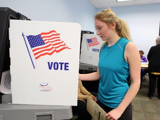 Lauren Goldman, 22, of Clarkstown casts her ballot