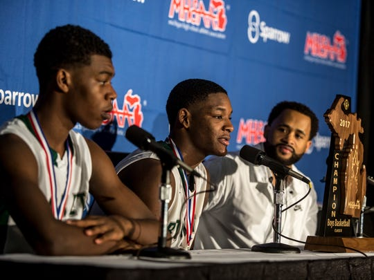 Eric Williams Jr., Romeo Weems and coach Tedaro France II speak at a press conference after the MHSAA Class B state basketball final Saturday, March 25, 2017 at Michigan State University.