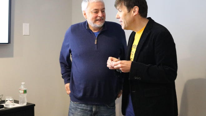 At a dinner at Hotel Fauchere on March 11, Bob Guccione Jr., left, will tell his stories of getting death threats for articles he ran in Spin magazine. With him is his friend John Leland, author and New York Times reporter.
