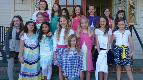 This 2010 photo shows Girl Scouts in front of the Brookside Community Club for a fashion show. The Brookside Community Club, at 1 Main St., Mendham, will be the site of a knitathon on Sunday, Nov. 2.