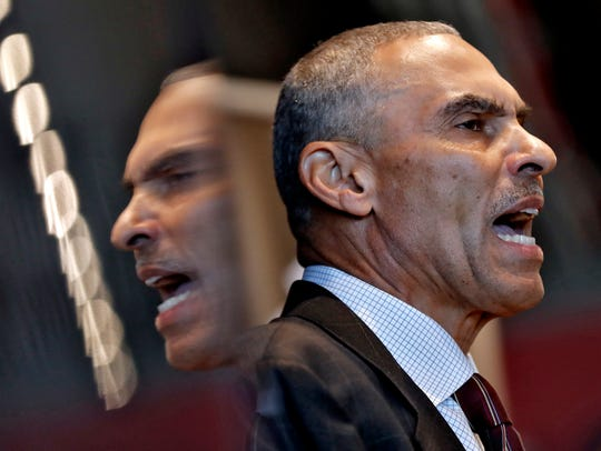 Newly appointed head coach Herman Edwards speaks during