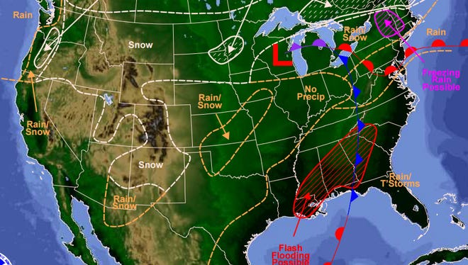 A storm moving east will bring rain to most of New Jersey on Tuesday, Dec. 29.