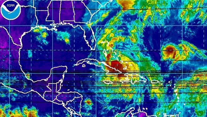 Satellite shows Hurricane Matthew moving toward Florida.
