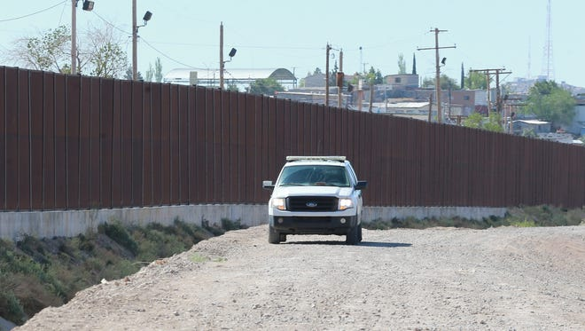 A U.S. Border Patrol vehicle parked off of West Paisano Drive in El Paso.
