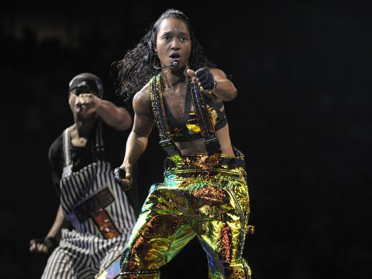 """Rozanda """"Chilli"""" Thomas performs with TLC Friday night at the Palace of Auburn Hills."""