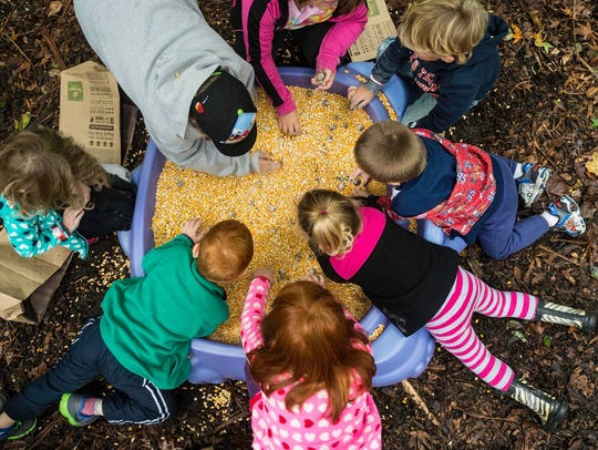 Children dig through a sandbox full of corn searching